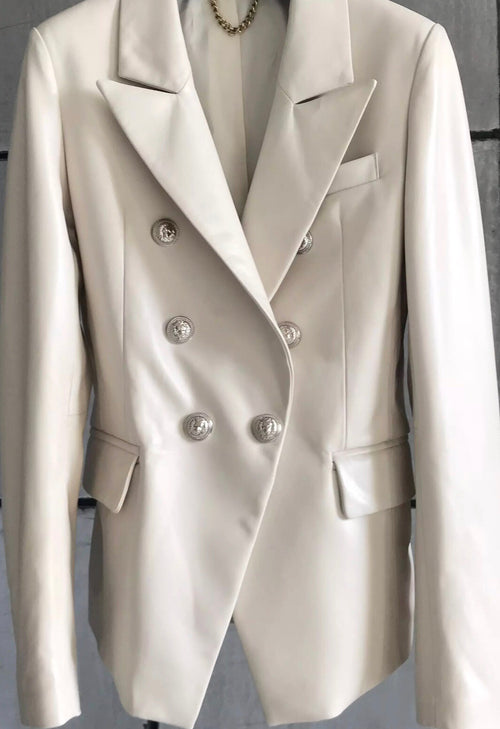Leather Double Breasted Blazer - Off White with Silver Hardware