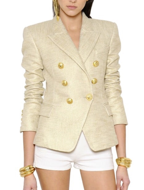 Double Breasted Blazer with Gold hardware - Gold