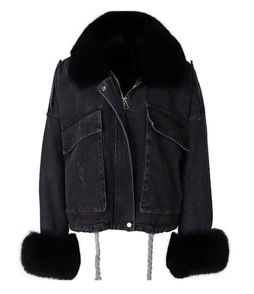 Denim & Fur Jacket - Black