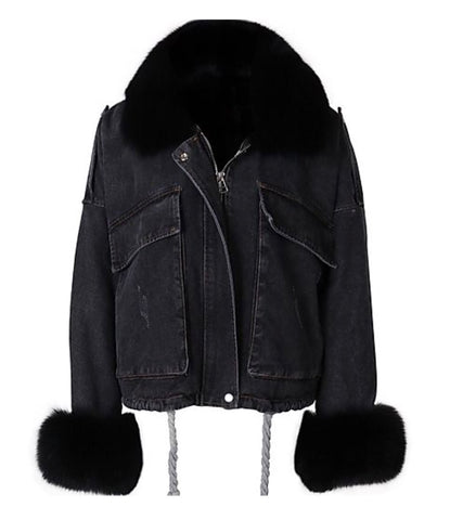 Army Fur Hood Parka - Black