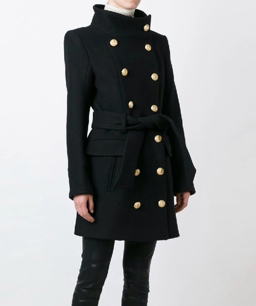 Double Breasted Wool Blend Coat with Gold hardware