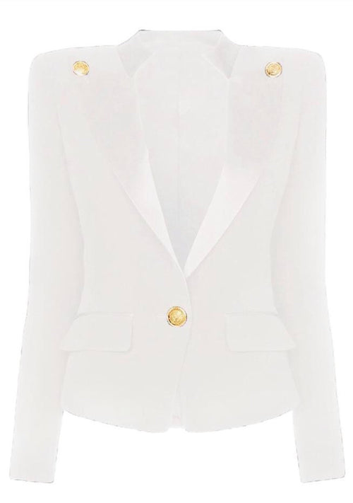 Collar Button Blazer - White