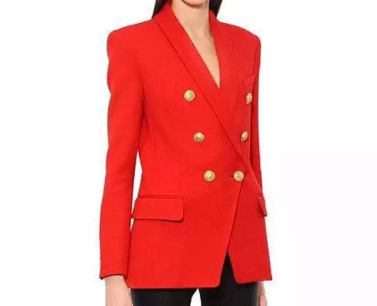 Long Length Double Breasted Blazer - Red