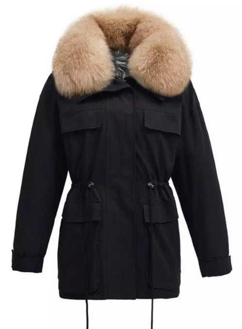 Fur Collar Parka  - Black/cream