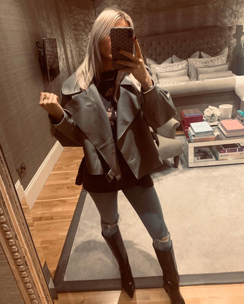Oversized Leather Jacket - Grey