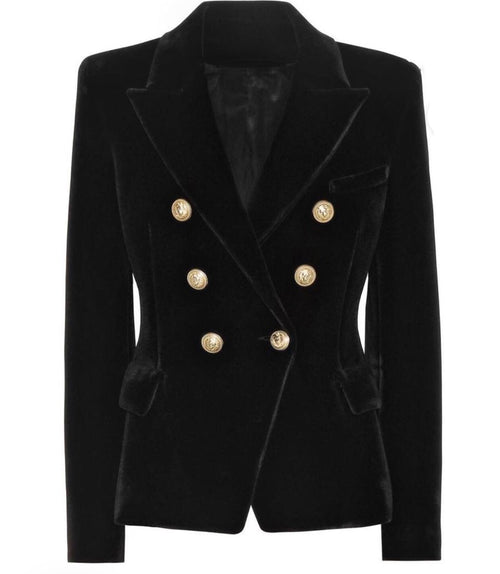 Double Breasted Blazer with Gold Hardware - Black Velvet