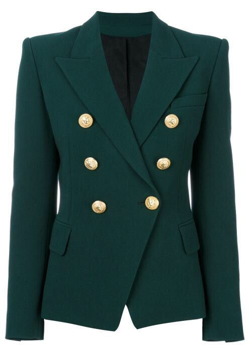 Double Breasted Blazer with Gold Hardware - Forest Green