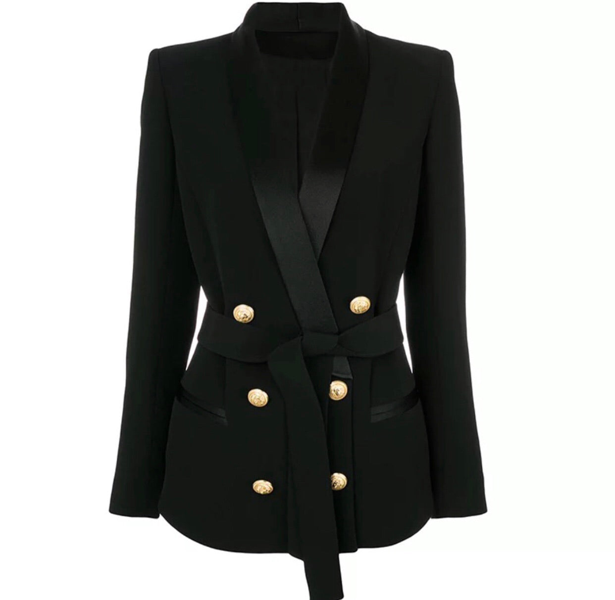 Double Breasted Tie Blazer with Gold Hardware - Black