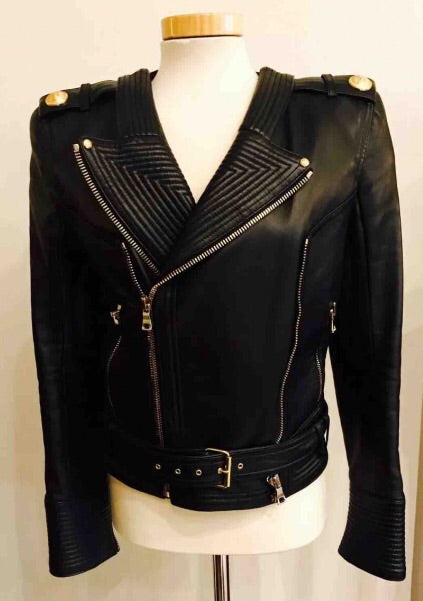 Lillie Leather Biker with gold Hardware