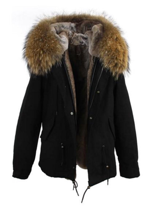 Fur Lined Parka - Black Natural Fur Short
