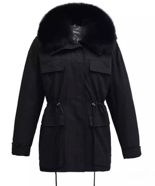 Fur Collar Parka  - Black