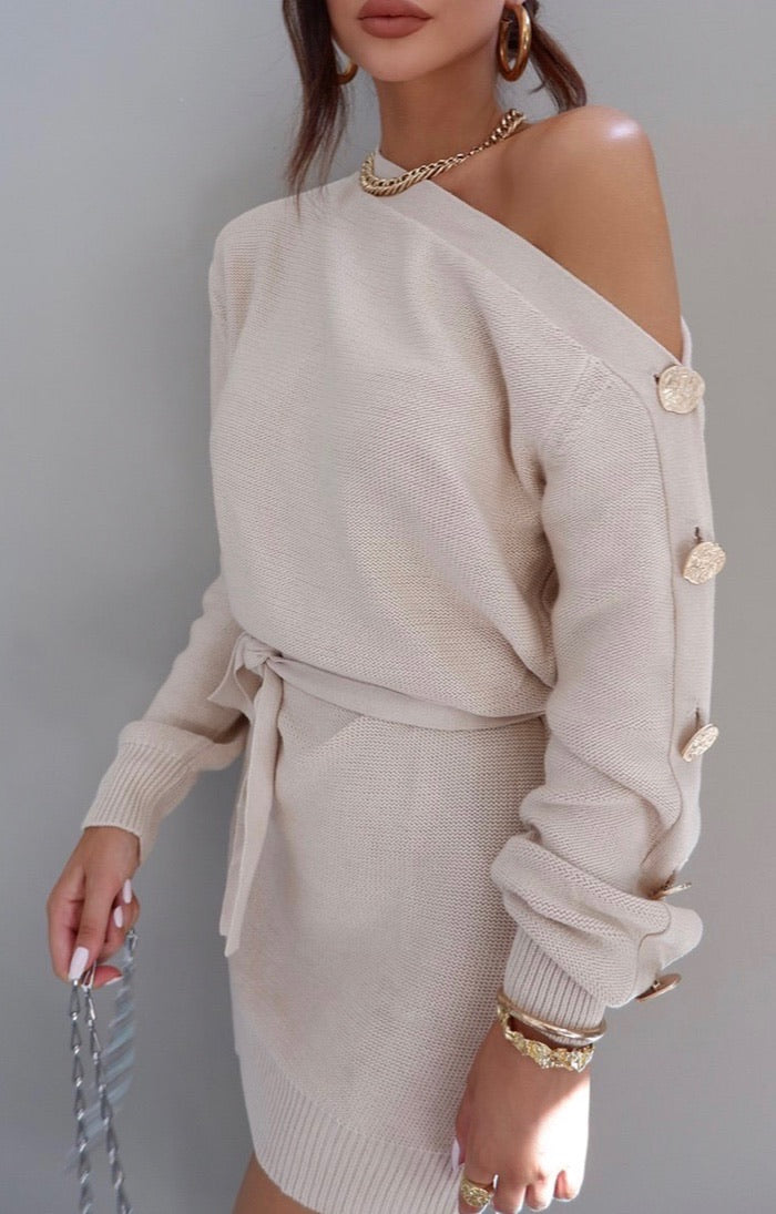 Jessica Knitt Dress - Cream