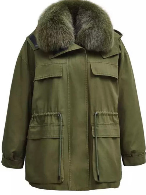 Fur Collar Parka  - Green