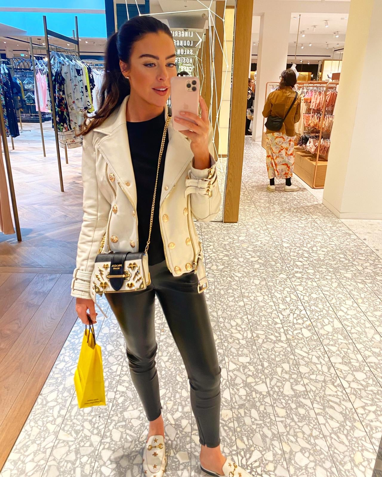 Kelly Leather Biker with gold Hardware - Ivory