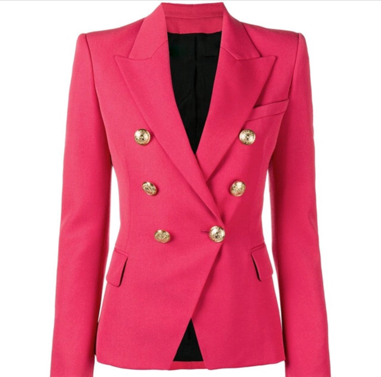a7a849cec Double Breasted Blazer with Gold Hardware - Hot Pink