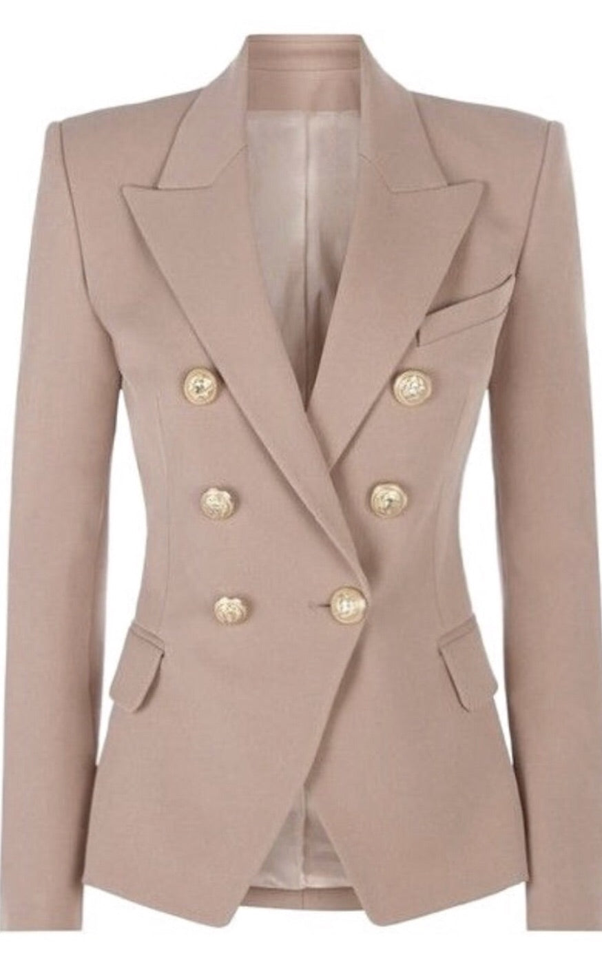 Double Breasted Blazer with Gold Hardware - Beige