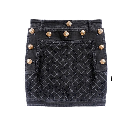 Denim Buttoned Skirt with Gold Hardware - Black
