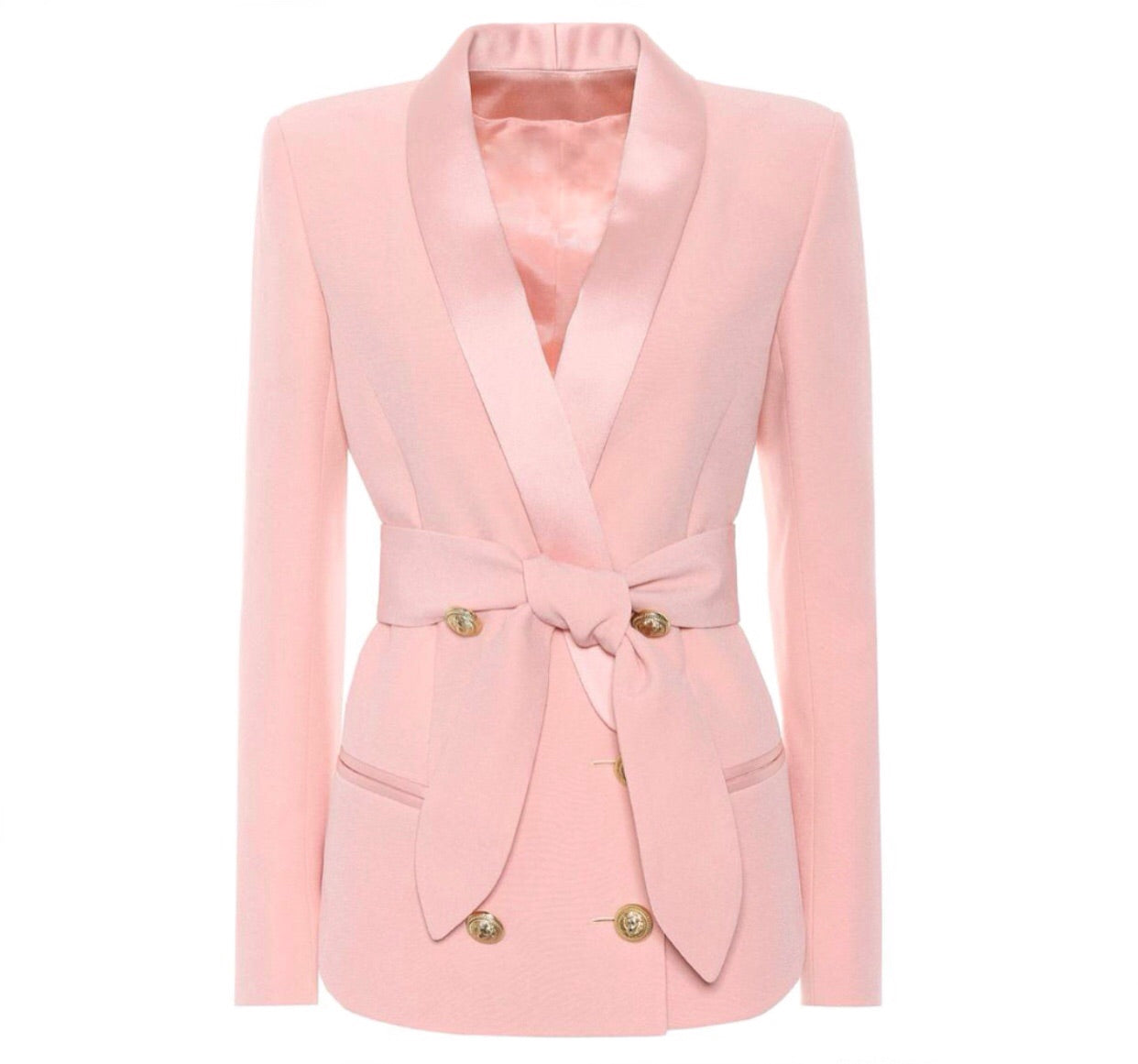 Double Breasted Tie Blazer with Gold Hardware - Pink