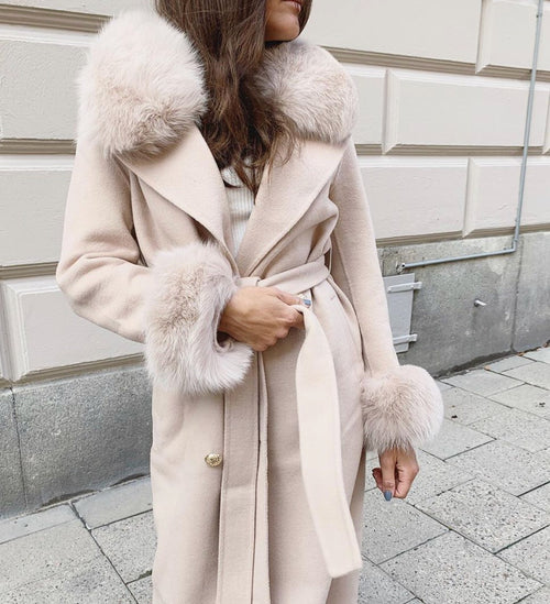 THE CASHMERE WOOL COAT- Beige
