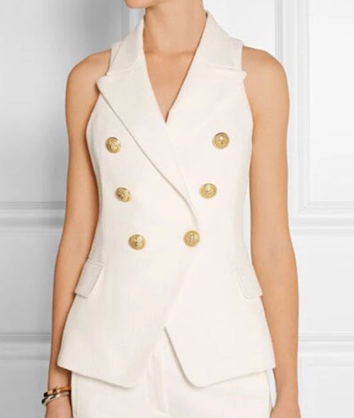 Double Breasted Waistcoat with Gold Buttons - White