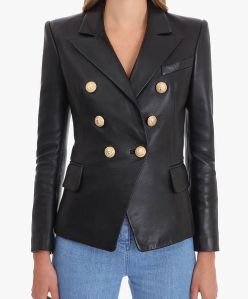 Premium Collection - Lambskin Leather Double Breasted Blazer