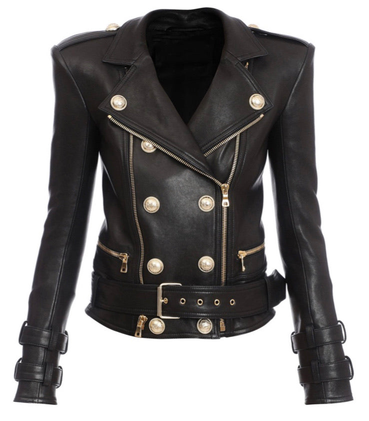 Olivia Leather Biker with gold Hardware