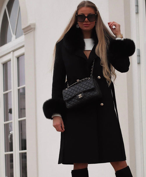 THE CASHMERE WOOL COAT- Black