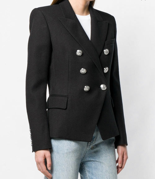 Double Breasted Blazer with Silver Hardware - Black
