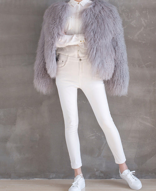 Mongolian Fur Coat - Grey