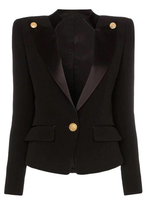 Collar Button Blazer - Black