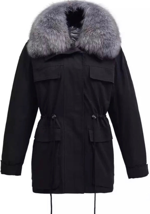 Fur Collar Parka  - Black/grey