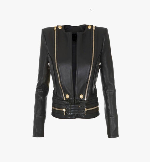 FHB Lapel Leather Biker with gold Hardware