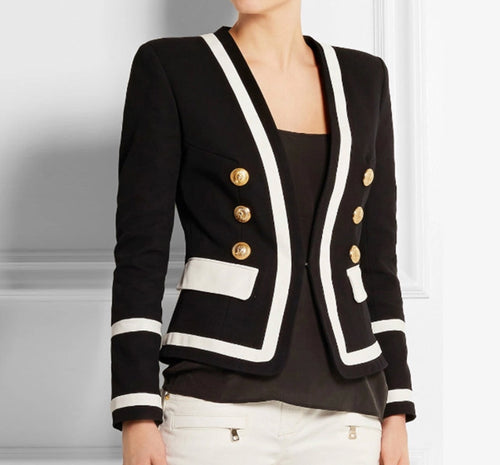 Colour Block Blazer with Gold Hardware - Black