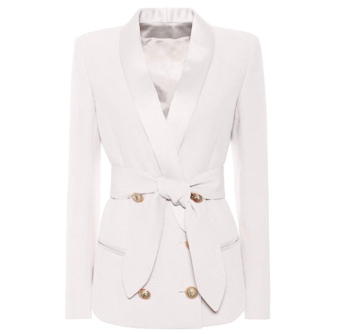 Double Breasted Tie Blazer with Gold Hardware - White