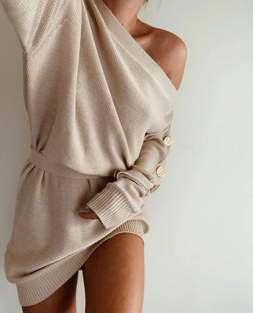 Belle Knit Dress -Natural