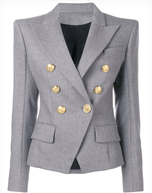 Breasted Blazer with Gold Hardware - Grey