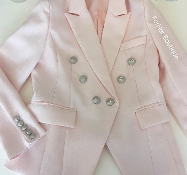 Double Breasted Blazer with Silver Hardware - Pink