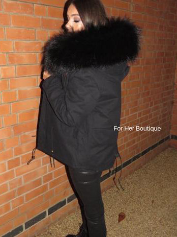Fur Lined Parka - Black Short