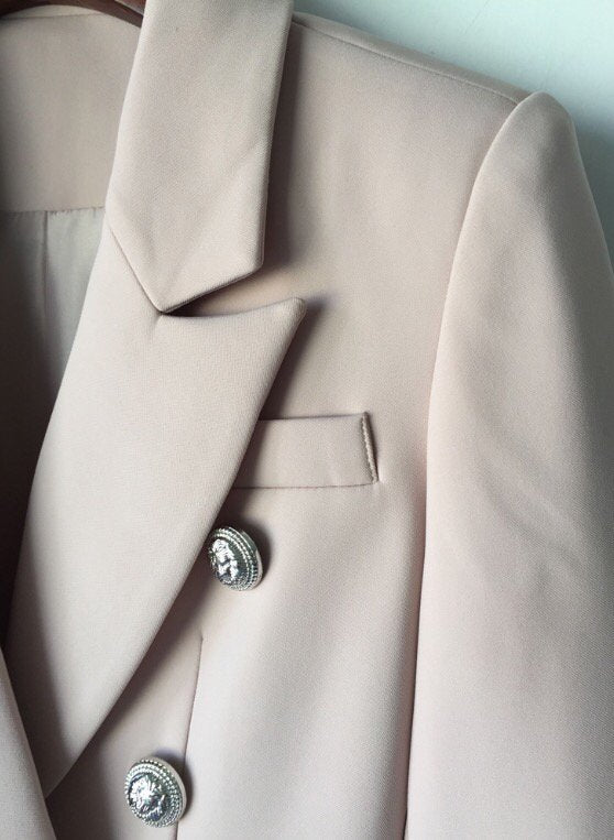 Double Breasted Blazer with Silver Hardware - Blush