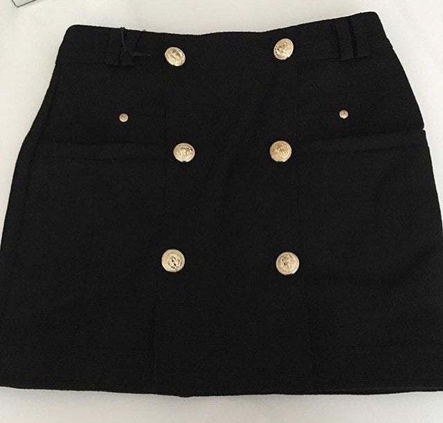 Bally Skirt with Gold Buttons - Black