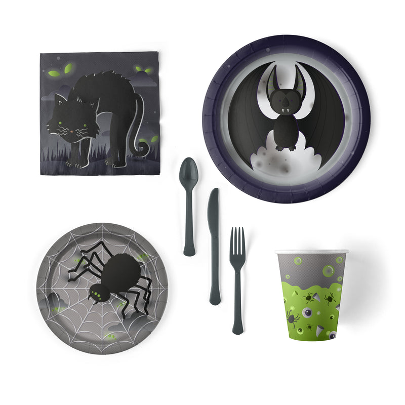 Halloween Party Pack with Plates, Napkins, Cups and Flatware