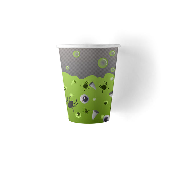 9 ounce Halloween Party Drink Cups with spiders, eyeballs and fangs