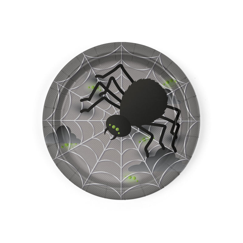 Halloween Party Dessert Plates measuring 7 inches, Black Spider with Web