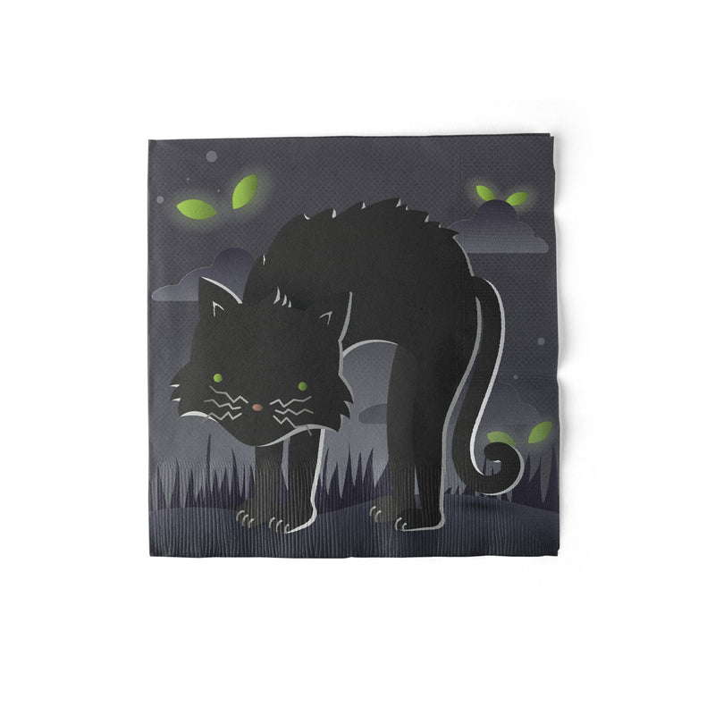6.5 inch Luncheon Sized Halloween Party Napkins with Black Cat