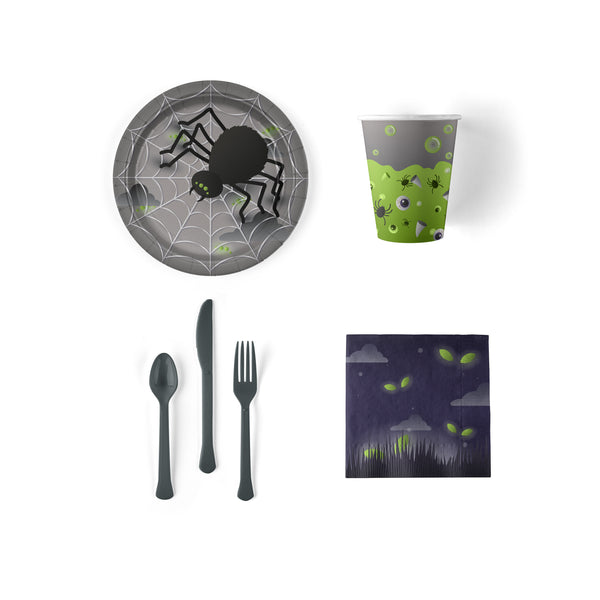 Halloween Party Snack Pack with Plates, Napkins, Cups and Flatware