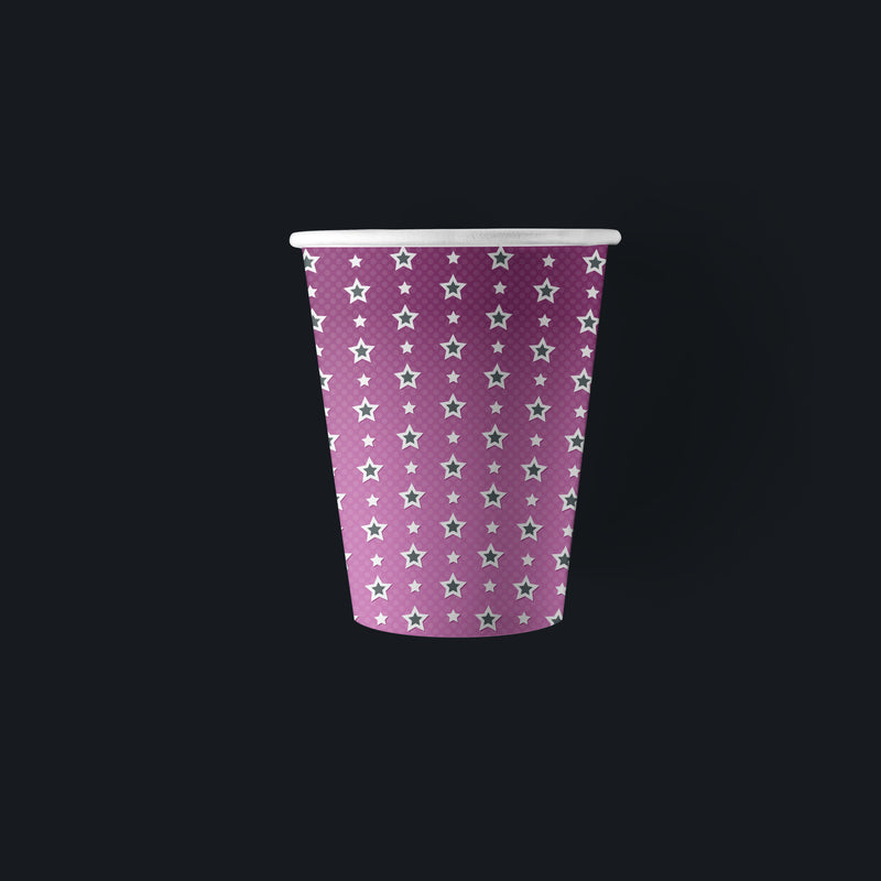 Girls Birthday Party Cups, Purple with Star Pattern