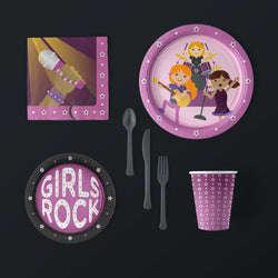 Girls Rock Purple and Black Girls Birthday Party Pack with Plates, Napkins, Plates, Flatware and Cups