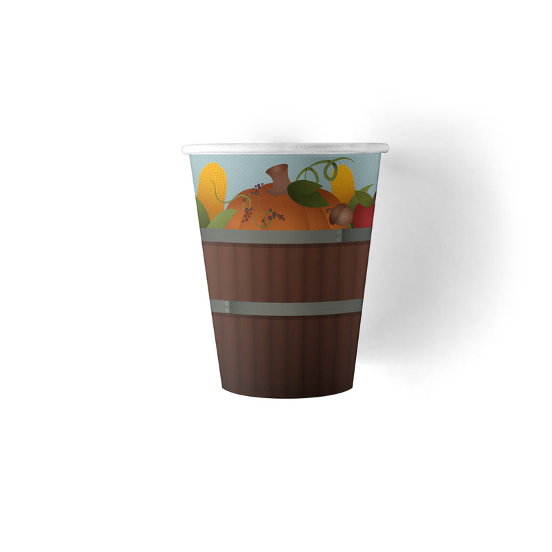 9 ounce Thanksgiving paper cups with pumpkin design