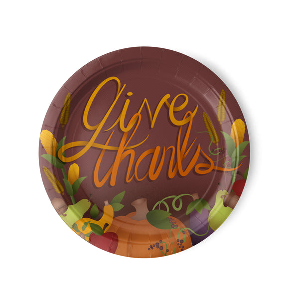 """Give Thanks"" Thanksgiving Dinner Paper Plates"