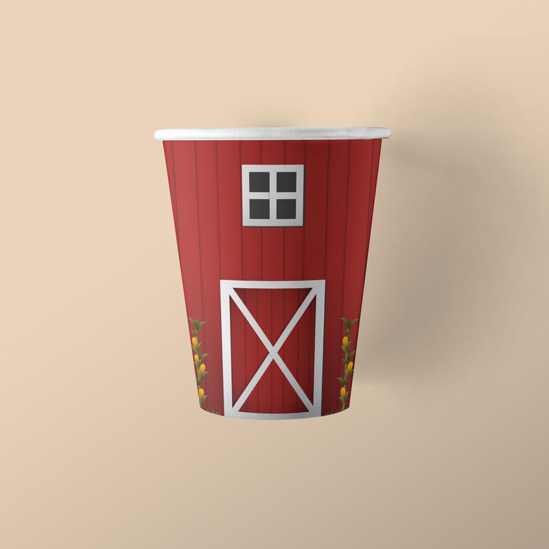 Farm Party Themed Paper Cups with Barn Pattern